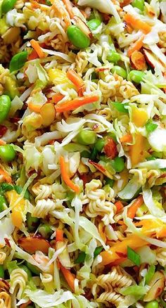 "A ""healthier"" version of Asian Ramen Salad - minus the Ramen seasoning packets, etc."