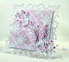 I LOVE THIS  Paper:  White   Ink:  Adirondack Pink Sherbet     Accessories:  Memory Box Pippi Butterfly, Isabella Butterfly, Flower Mound, Lavish Branch, Spellbinders Fleur De Lis Squares, Sizzix Corners and Lattice Set, Glossy Accents , Mounting Tape, Stylus , Mat, Metal Adapter Plate , Glue Dots , Paper Piercer , ATG , Big Shot, Teflon Bone Folder, Snips, Brayer, Pearls