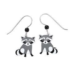 Handcrafted Raccoon Earrings Sterling French Hooks - Earrings, Necklaces, Rings, Bracelets, Pendants and More - Unique Jewelry at Affordable Prices | Nature's Jewelry