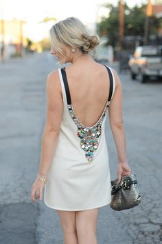 love the jeweled back of this dress