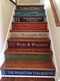 Book Stairs DIY Vinyl Decals by ThatMakesAStatement on Etsy diy Two or More Book Stair Decals - Lettering for DIY Book Steps Diy Vinyl, Vinyl Decals, Wall Decals, Custom Decals, Book Stairs, Bookcase Stairs, Bookshelf Ideas, House Stairs, Bookcases