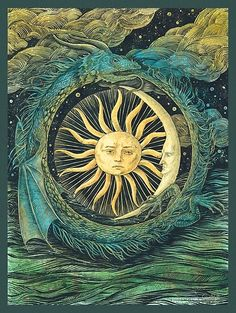 'Perpetuity' Poster by Yulya Shironina Art And Illustration, Illustrations, The Moon Tarot Card, Esoteric Art, Arte Obscura, Occult Art, Sun Art, Hippie Art, Psychedelic Art