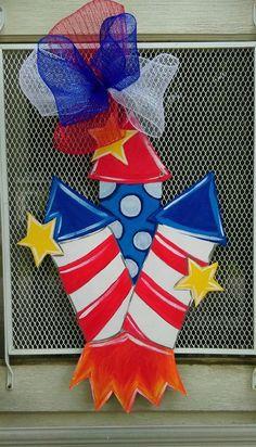 SALE Firework Door Hanger Fourth of July Door hanger by ArtByAudet - Wood Working Patriotic Crafts, July Crafts, Holiday Crafts, Diy And Crafts, Door Crafts, Burlap Crafts, Wooden Door Signs, Wooden Doors, Burlap Door Hangers