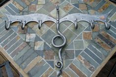 BLACKSMITH FORGED COAT Rack Dragon Sculpture by Naz by NazForge