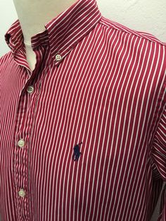 Polo #RalphLauren #Mens #Shirt Medium Custom Fit Red White Bengal #Striped Cotton #menswear #mensfashion #mensstyle