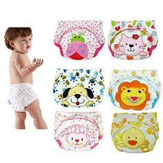 6PCS Baby Infant Waterproof Training Pants Diaper Nappy Underwear Kids Potty Cloth Diaper (L)