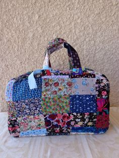 Patchwork Top handle handbag multicolour handmade by Aliki01 on Etsy