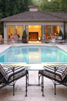 Luxury Pool House Swimming Pool Landscaping Network Calimesa, CA Small Inground Pool, Small Pools, Swimming Pool House, Swimming Pools, Pool House Interiors, Pool House Decor, House Decorations, Small Pool Houses, Pool Storage