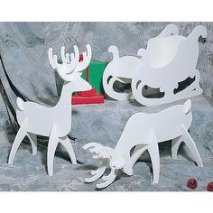 Buy Woodworking Project Paper Plan to Build White Reindeer & Sleigh, Plan No. C122 at Woodcraft.com