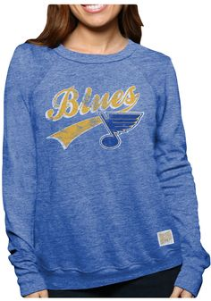 Original Retro Brand Crew Sweatshirt - Blues Womens Royal Tri-Blend Fleece Long Sleeve