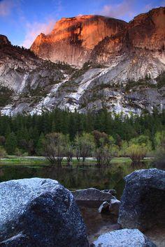 Sunset on Half Done and Mirror Lake, Yosemite National Park, California via intomymindeye on Tumblr