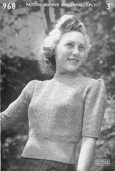 Patons 968 1940s Ladies Fern Lace Jumper Vintage Knitting Pattern 36 Bust £8.49 (4B)