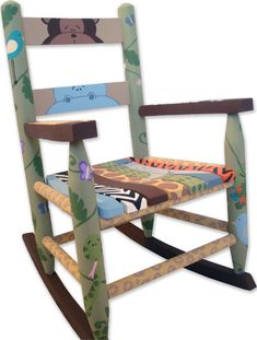 Custom Painted Children's Rocking Chair, Safari Theme