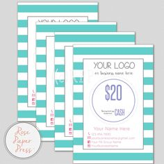 Cash Cards, Stripes or Polka Dots   Custom Printable Cards   Money Cards, Gift Card, Certificate by RosePaperPress on Etsy