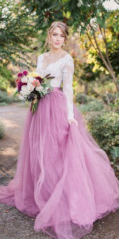 22 Colored Wedding Dresses To Make You A Stylish Bride ❤  colored wedding dresses with long sleeeves lactop purple skirt sweet caroline styles ❤ Full gallery: https://weddingdressesguide.com/colored-wedding-dresses/