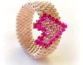 Valentine's Ring. Purple Heart Beaded Ring. Beadwoven Seed Bead Ring. Valentin's Gift under 20.