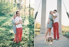 cute engagement with dog. love all the colors and light
