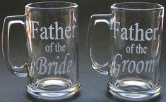 Custom Etched Beer Mug Set of 2 Wedding Bestman Groomsmen