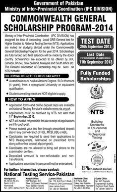 Commonwealth General Scholarship Program 2014  گورنمنٹ آف پاکستان کی طرف سے کامن ویلتھ سکالرشپس پروگرام 2014 کا اعلان کر دیا گیا۔۔۔۔۔۔ ابھی اپلائی کریں۔۔۔۔ تفصیل کے لیئے نیچے لنک پر کلک کریں