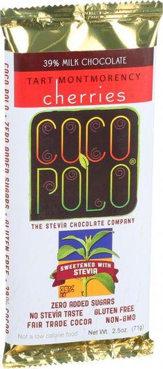 Coco Polo Chocolate Bar - 39 Percent Milk Cherry - Case of 10 - 2.5 oz Bars