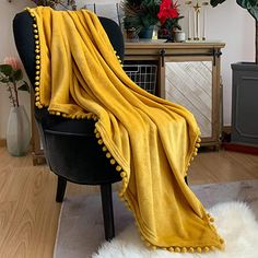 Amazon Com Lomao Flannel Blanket With Pompom Fringe Lightweight Cozy Bed Blanket Soft Throw Blanket Fit Couch Sofa Suitable For All Season 51x63 Mustard Yel In 2020