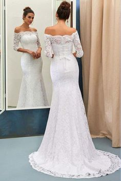 70ca524a4bb0 Mermaid Off-the-Shoulder 3/4 Sleeve Lace-up Wedding Dresses with Sweep  Train PW196