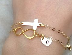"""Personalized Gold Jewelry Cross Bracelet Heart by natashaaloha, $69.00--PERFECT, even has an """"n"""" ready for me :-)"""