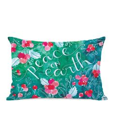 Take a look at this Green & Pink 'Peace on Earth' Pillow by OneBellaCasa on today! World Peace Day, Peace On Earth, Peace Love And Understanding, Pillow Fight, Humble Abode, Window Coverings, Fabric Crafts, Peace And Love, Happy Holidays