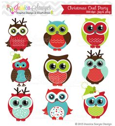 Christmas owl party clipart for commercial use, personal use, invites, cards, scrapbooking