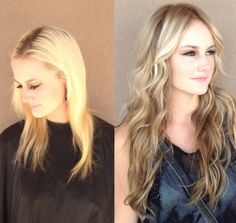 Hair extensions and color before and after by dkwstyling