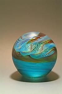 """""""Pearl Paperweight""""  Art Glass Paperweight  Created by Robert Burch"""