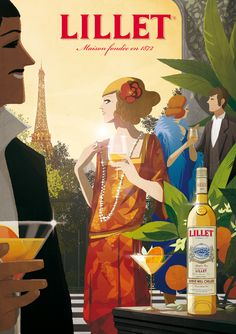 'Cocktail' artwork by Matthieu Forichon  - actually I pinned this because I love Lillet.