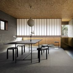 Model 101 pendant by Kaare Klint from Le Klint and 60 stool by Alvar Aalto from Artek | Ogawa Sekkei transforms an old house into  a landscape architecture studio with a rockery
