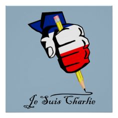 Je Suis Charlie poster featuring colors of the French flag on a fist holding a pencil. I am Charlie. #je-suis-charlie-poster #je-suis-charlie #je-suis-charlie-fist #french #fist-pencil #je-suis-charlie-print #i #am charlie