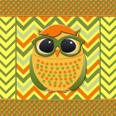"""Yellow and Green Owl with Glasses on Orange and Yellow Chevron Art Print. Gallery quality Giclée print on natural white, matte, ultra smooth, 100% cotton rag, acid and lignin free archival paper using Epson K3 archival inks. Custom trimmed with 1"""" border for framing."""