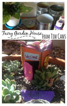 How to use tin cans to create a cute, little fairy garden house for your garden today. Great craft idea for older kids to create and DIY. Kids Fairy Garden, Garden Crafts For Kids, Fairy Garden Houses, Diy Garden Projects, Backyard For Kids, Diy For Kids, Home And Garden, Fairy Gardens, Fairies Garden