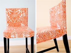 Removable oilcloth chair covers from Dana at Made! More info: http://www.danamadeit.com/2010/03/orange-you-glad-oilcloth-chairs.html