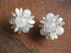 Vintage 1950s Clip On Clear Glass Bead Cluster by GrayGatorVintage, $14.00