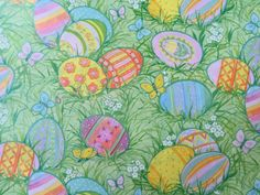 Vintage gift wrapping paper neon peacock feathers flowers vintage gift wrapping paper easter paper colorful easter eggs in the spring grass by hallmark 1 unused full sheet easter gift wrap negle Gallery