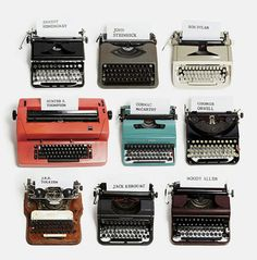 Typewriters of famous writers - and a reminder of the kind of typewriters I learned to type on, too