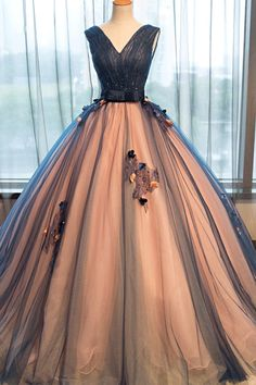 Gown Prom Dresses, Brown Ball Gown Evening Dresses, Gown Long Evening Dresses #promdresses #eveningdresses #longpromdresses  #tullepromdresses