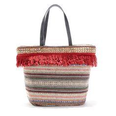 59de42c58d Vintage τσάντα με πολύχρωμο έθνικ μοτίβο και κρόσσια. Κλείνει με φερμουάρ.  1 τσέπη με φερμουάρ στο εσωτερικό. 2 χερούλια. Από 50% βαμβ.