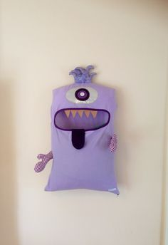 Monster Laundry Bag, Light Purple 1 Eye Friendly Monster, I'm a Pet, Bag, dress Up, Softie, present, gift, teenager, boys, girls, toddler by ColourMeldDesigns on Etsy