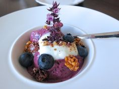 Yum! Bine made Bilberry ice cream with VERIVAL's bilberry and apple Crunchy.
