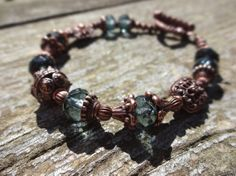 Slate #Blue Czech Glass and Ornate Antique copper toggle bracelet by TwinFlameDesigns, $24.74 #indigo #cobalt