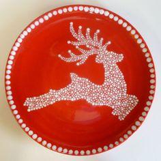 Handpainted Ceramic Reindeer Plate, by Utterly Pottery via Folksy, £25.00