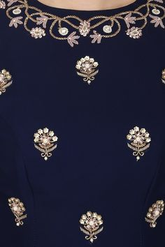 Navy blue embroidered kurta and palazzo set available only at Pernia's Pop Up Shop.