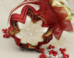 Lovely pink and mint Christmas tree ornaments patchwork by Gydesi