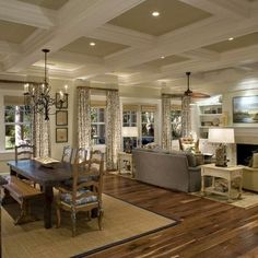 Living Room Design Ideas Open Floor Plan Hgtv Small Rooms 389 Best Decorating Images In 2019 Sweet Home Traditional Coffered Ceiling Pictures Remodel Decor And Organized Amy Smith