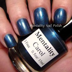 Mentality Nail Polish - Carol, a dark blue shimmer with a purple flash, dries to a semi-gloss finish. Also great for stamping.
